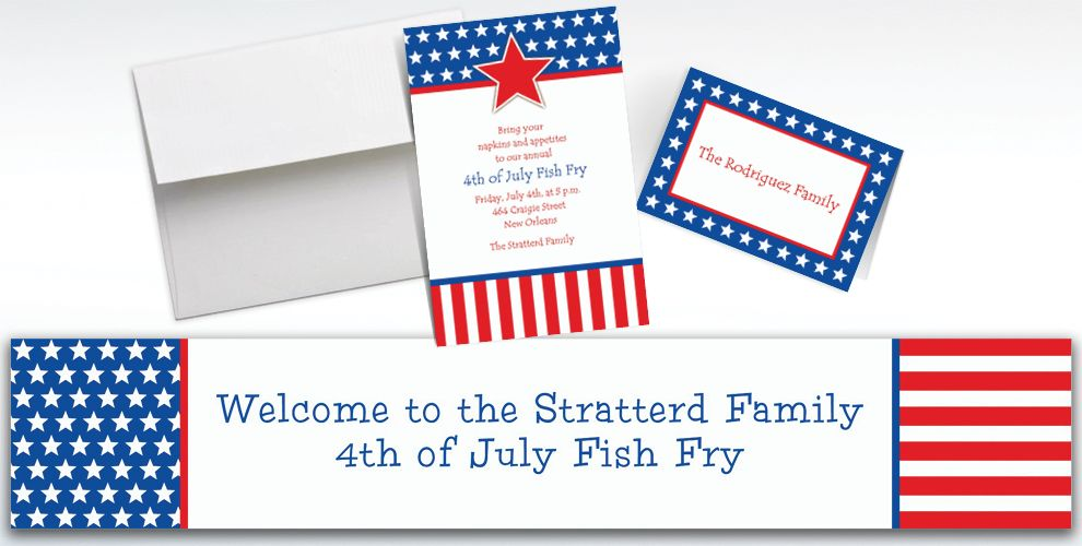 Custom Red, White and Blue Stars Patriotic Invitations and Thank You Notes