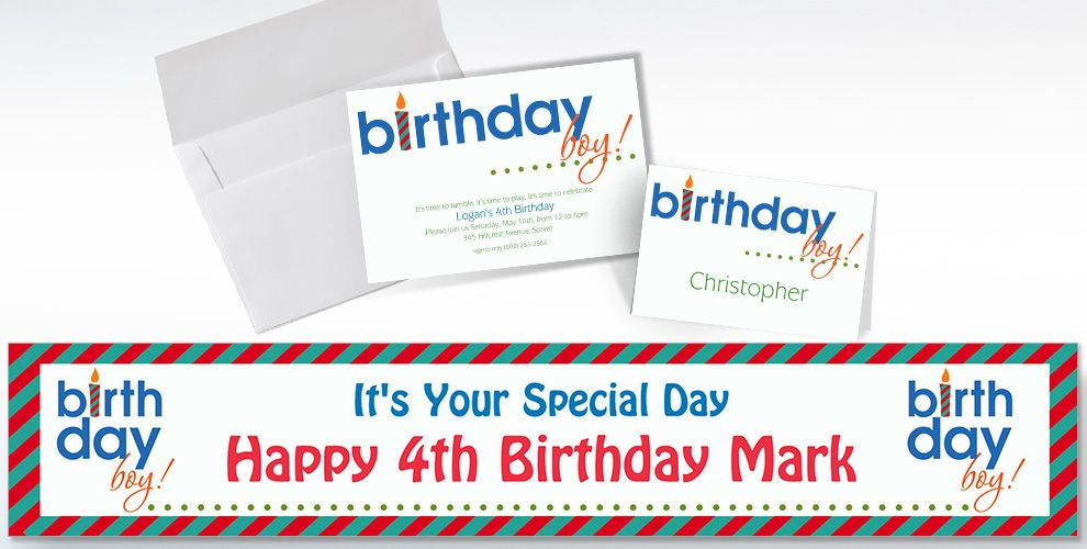 Custom Birthday Boy Invitations and Thank You Notes