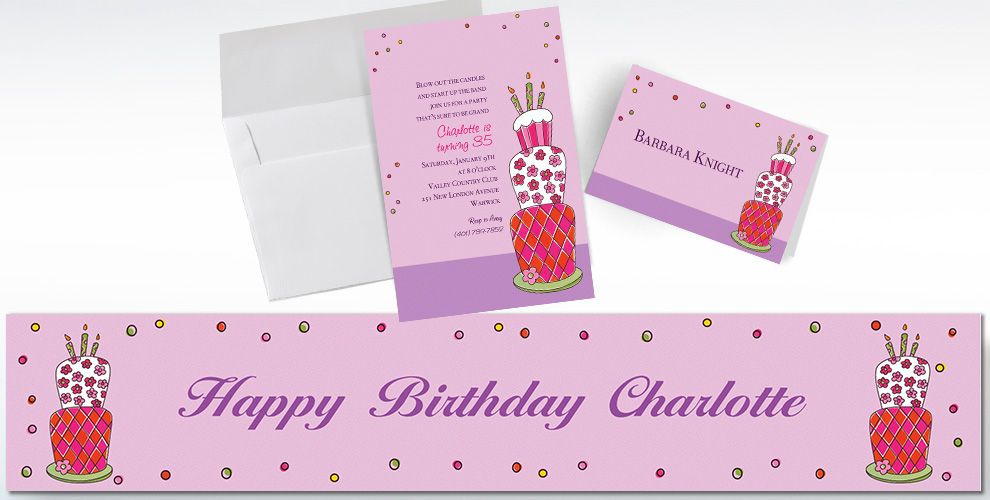 Custom Lovely Birthday Cake Invitations and Thank You Notes