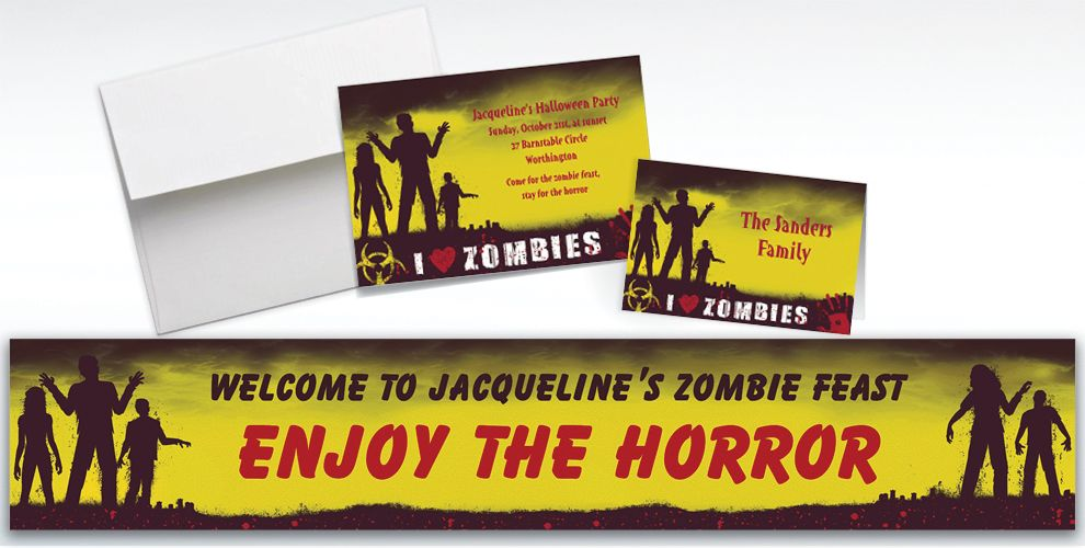 Custom Beware Zombies Halloween Invitations and Thank You Notes
