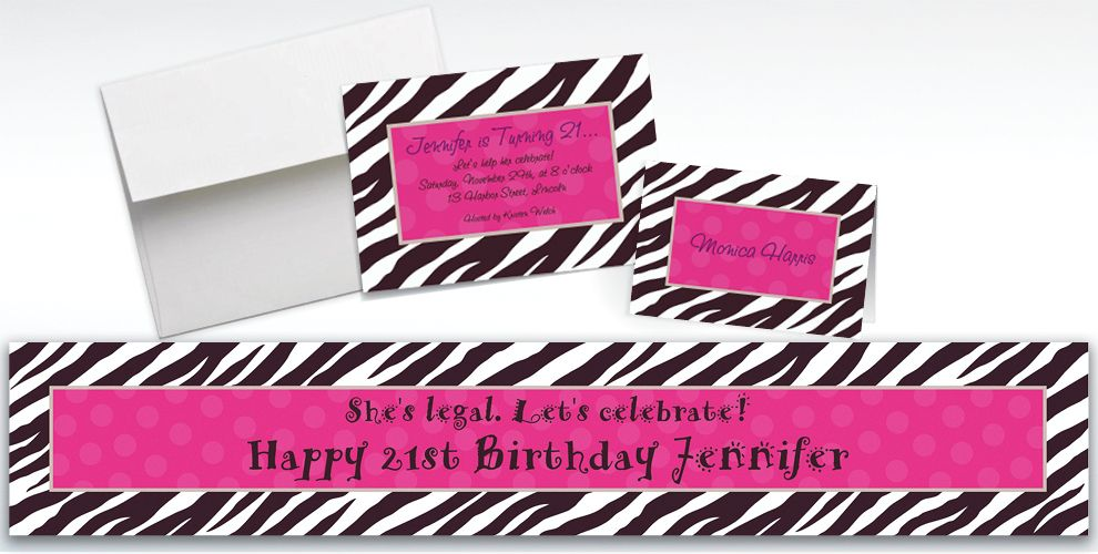 Custom Zebra Party Invitations and Thank You Notes