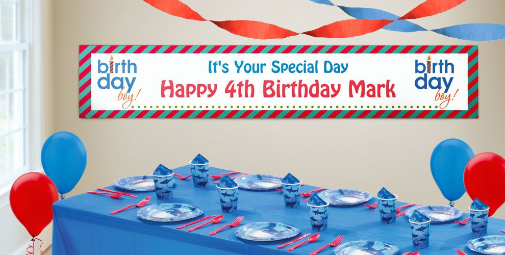 Custom Boys' Happy Birthday Banners