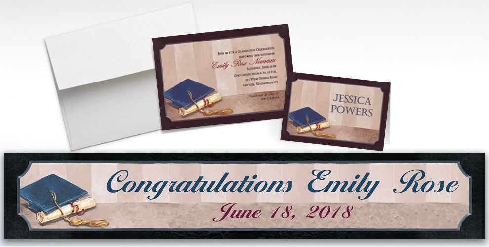 Custom Framed Cap and Diploma Graduation Invitations and Thank You Notes