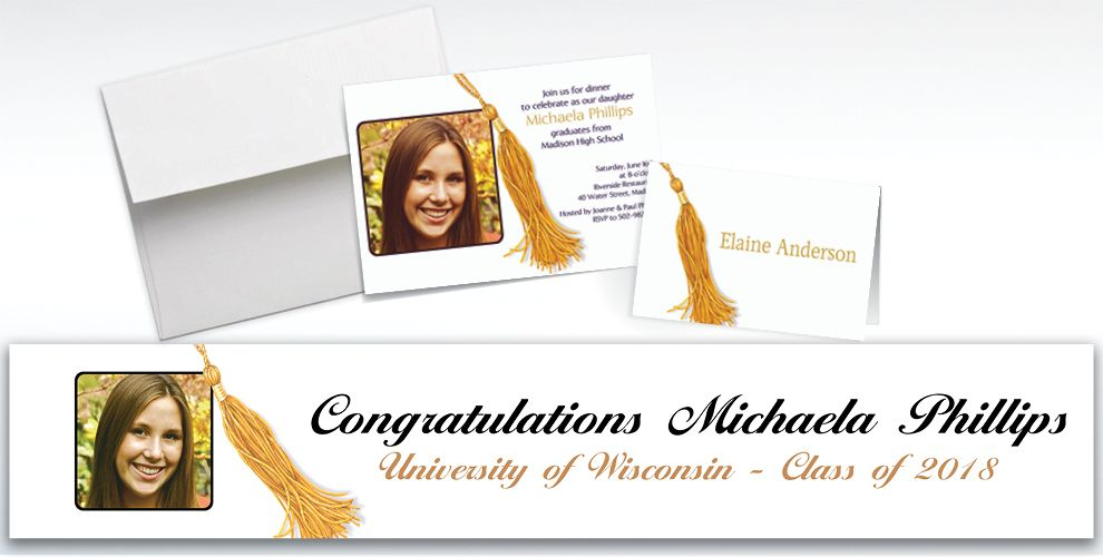 Custom Grad Tassle with Image Photo Invitations and Thank You Notes