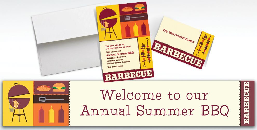 Custom Sizzling Hot Barbecue Summer Invitations and Thank You Notes