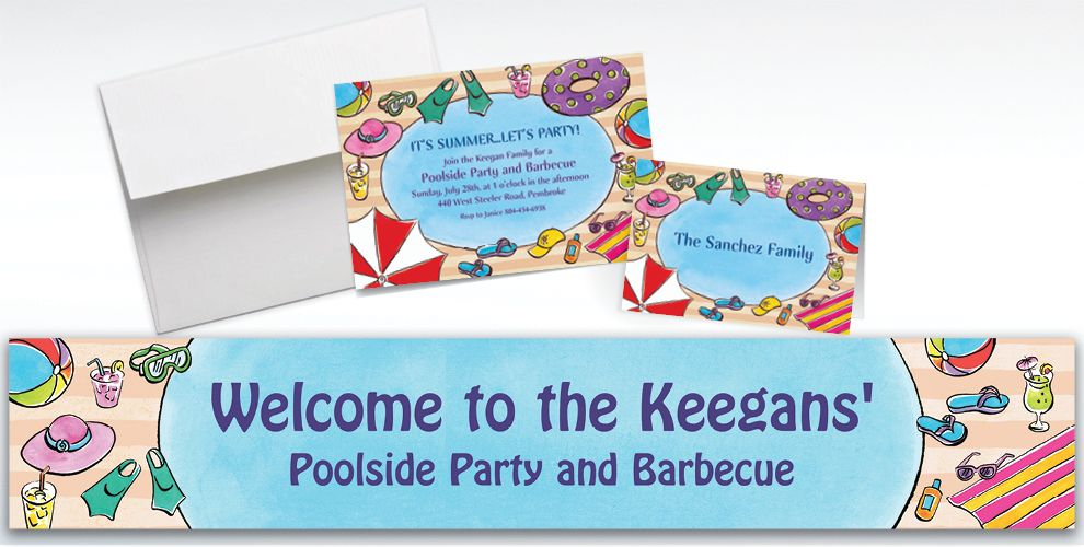 Custom Poolside Soiree Invitations and Thank You Notes