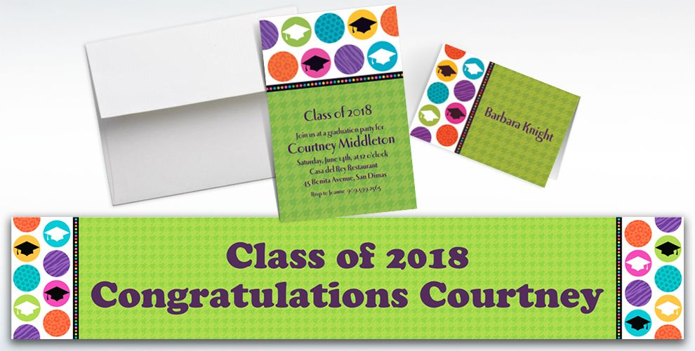 Custom Colorful Commencement Graduation Invitations and Thank You Notes