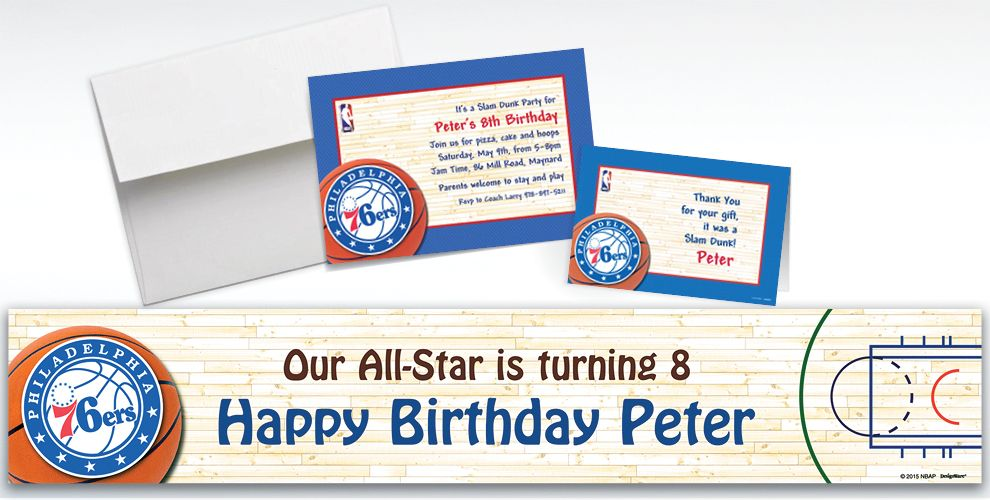 Custom Philadelphia 76ers Invitations and Thank You Notes