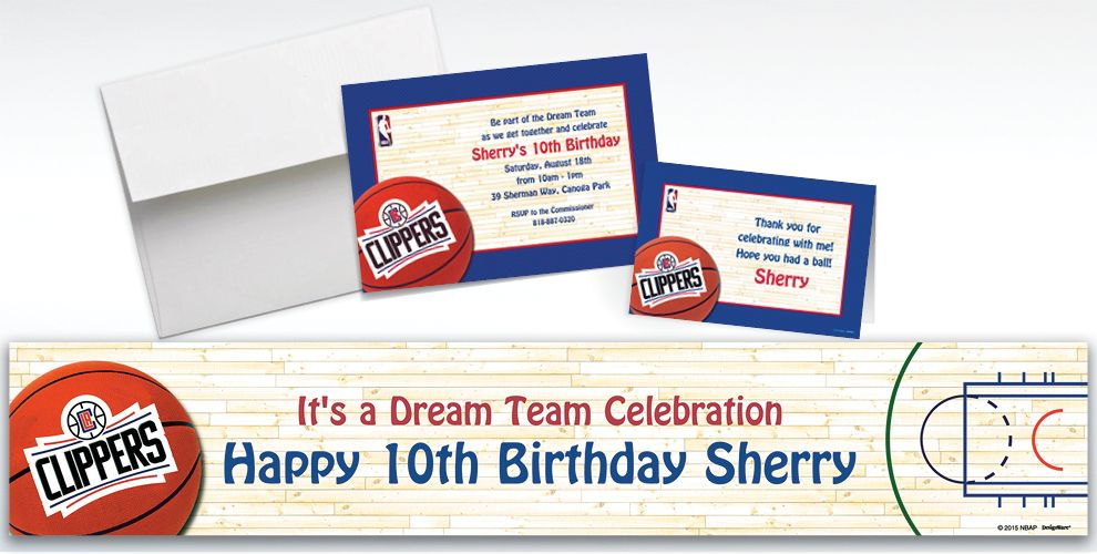 Custom Los Angeles Clippers Invitations and Thank You Notes