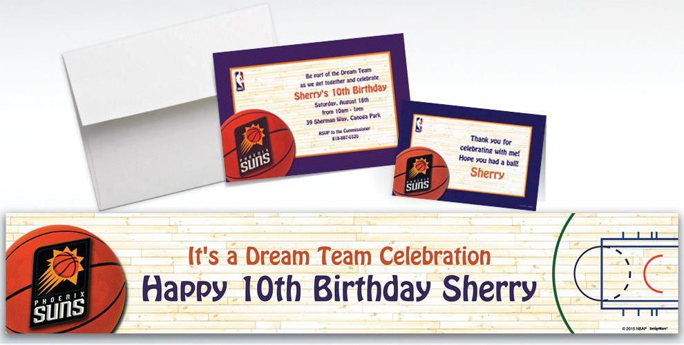 Custom Phoenix Suns Invitations and Thank You Notes