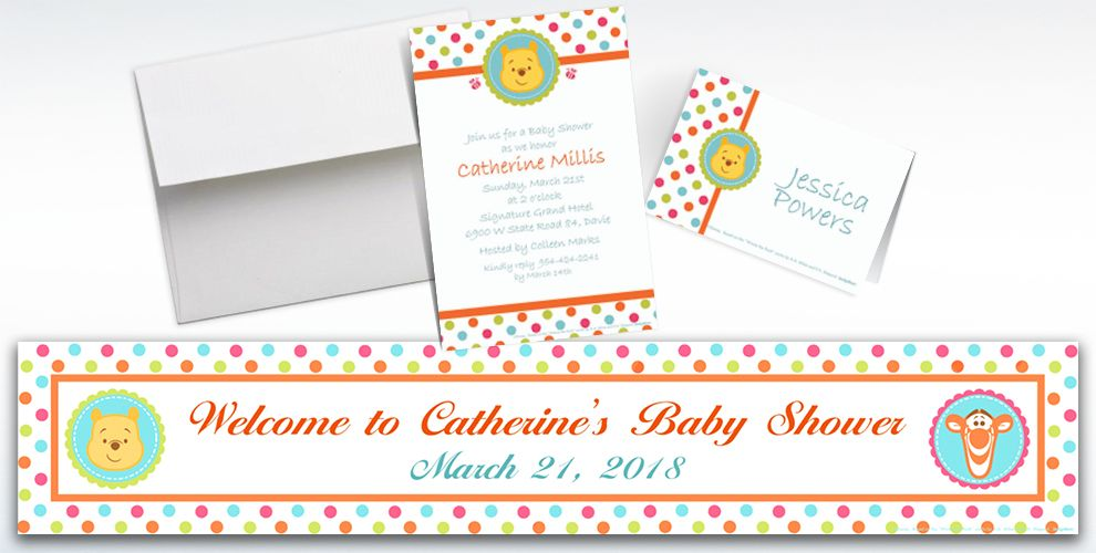 Custom Winnie the Pooh Baby Shower Invitations and Thank You Notes
