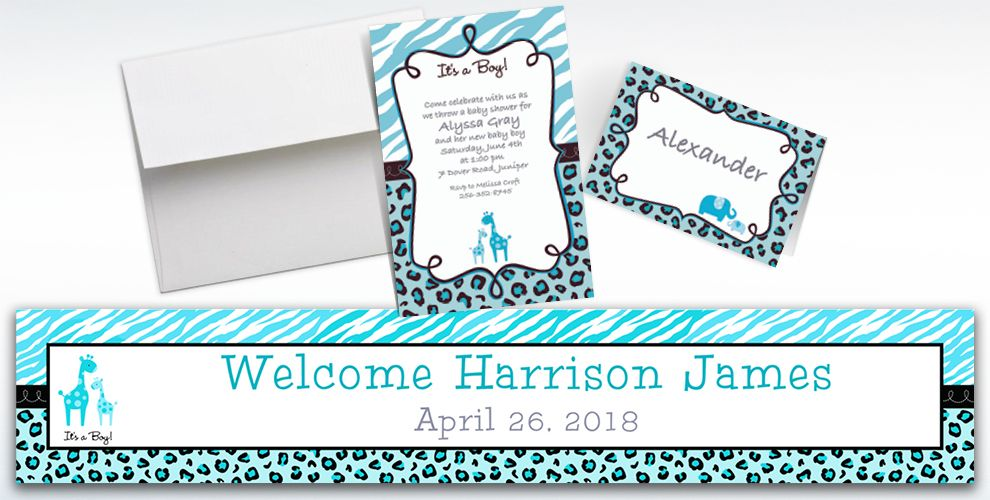 Custom Blue Safari Baby Shower Invitations & Thank You Notes | Party ...
