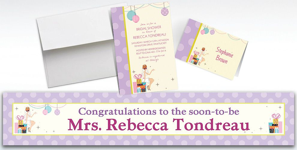 Custom Chic Bride Bridal Shower Invitations and Thank You Notes