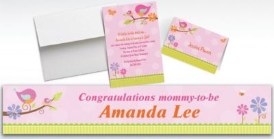 Custom Tweet Baby Girl Baby Shower Invitations Thank You Notes