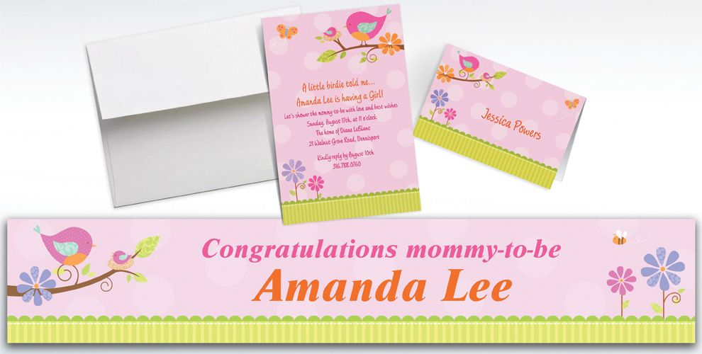Custom Tweet Baby Girl Baby Shower Invitations & Thank You Notes ...