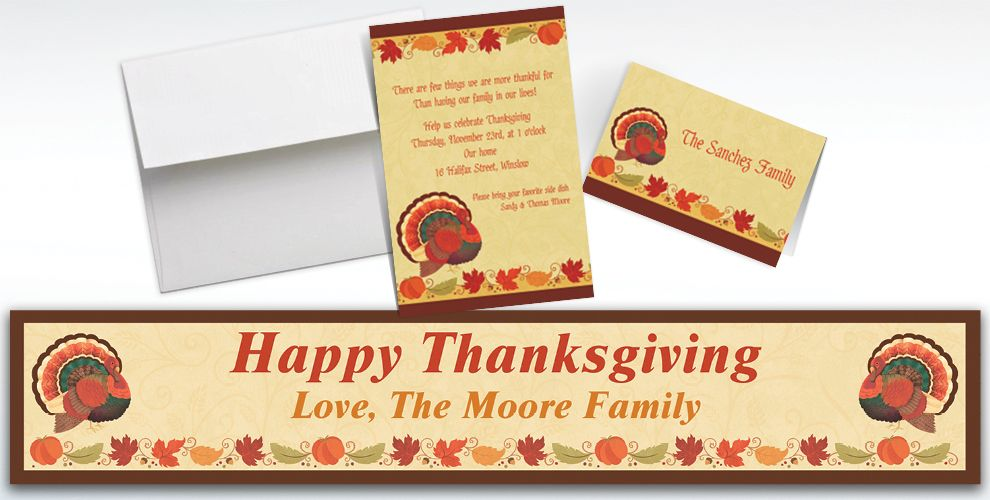 Custom Thanksgiving Holiday Invitations and Thank You Notes