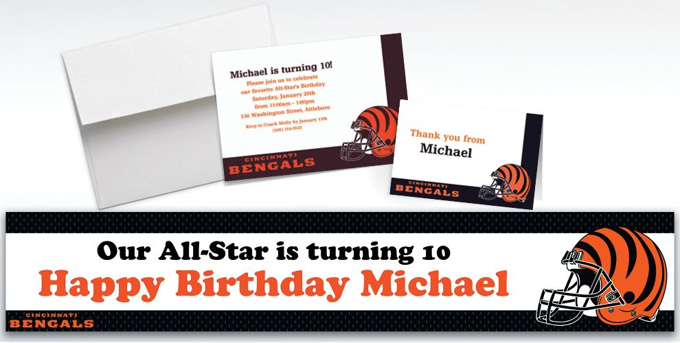 Custom Cincinnati Bengals Invitations and Thank You Notes