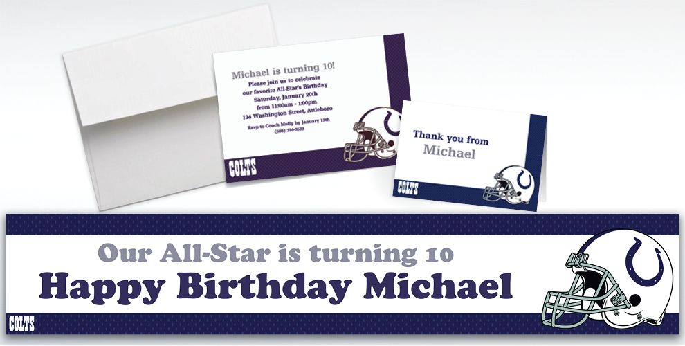 Custom Indianapolis Colts Invitations and Thank You Notes