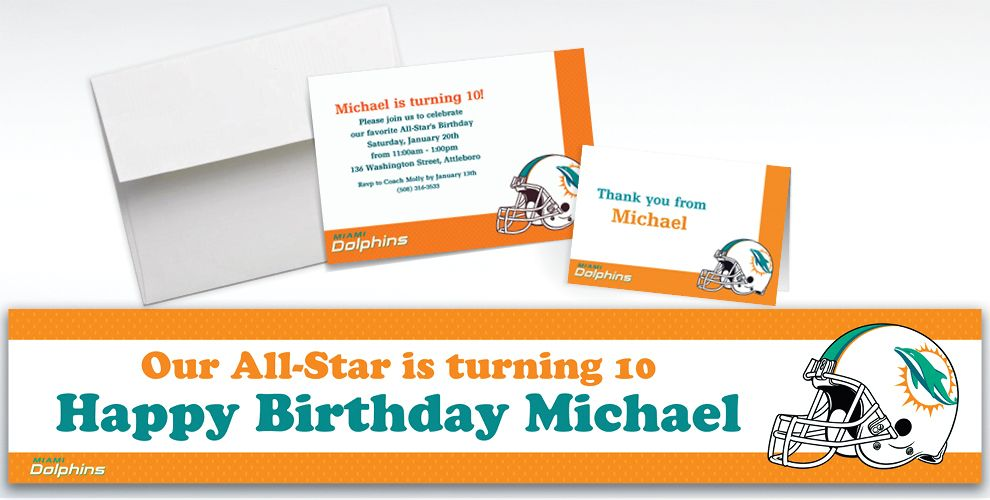 Custom Miami Dolphins Invitations and Thank You Notes