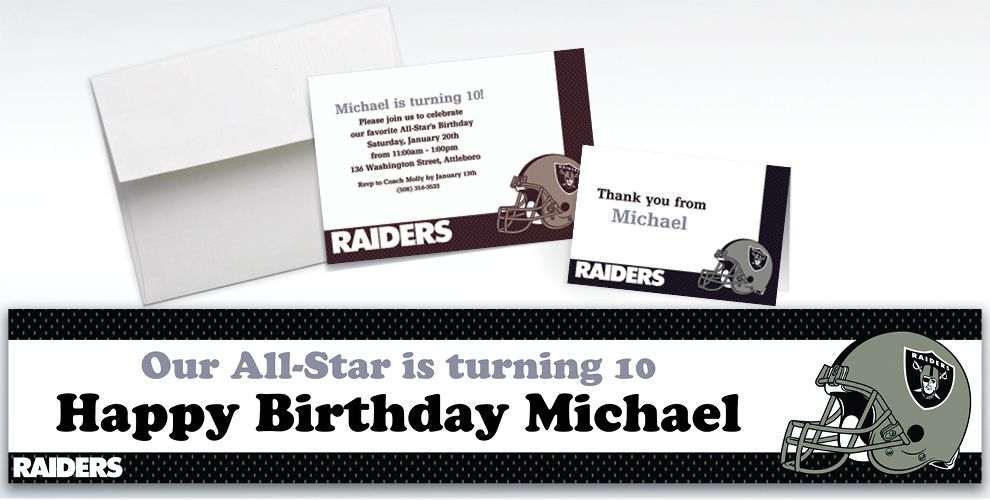 Custom Oakland Raiders Invitations and Thank You Notes