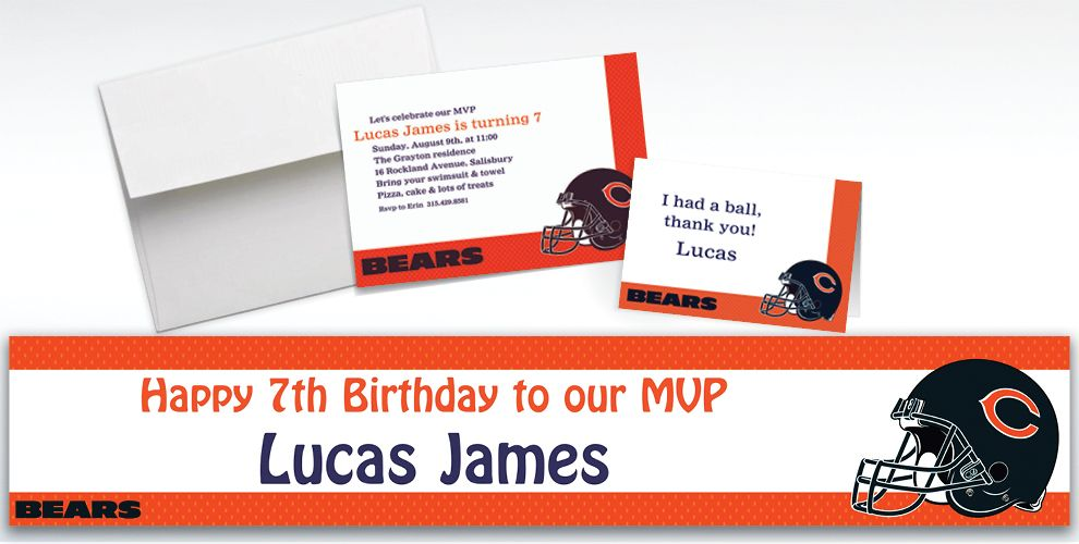 Custom Chicago Bears Invitations and Thank You Notes