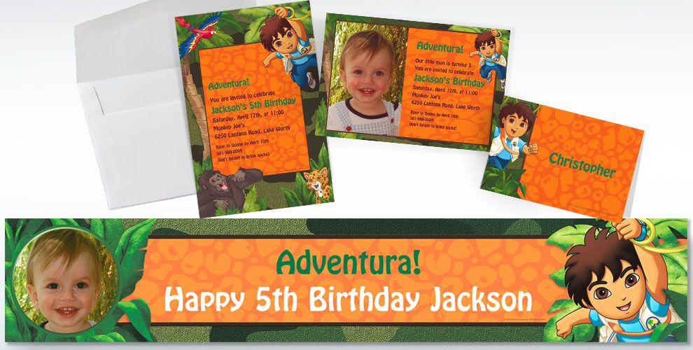 Custom Go, Diego, Go! Invitations and Thank You Notes