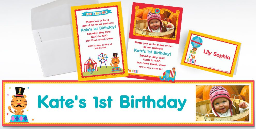 Custom Fisher-Price 1st Birthday Circus Invitations and Thank You Notes