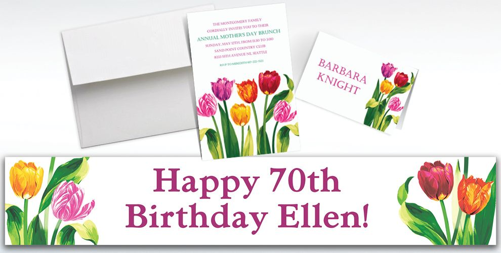 Custom Spring Tulips Invitations and Thank You Notes