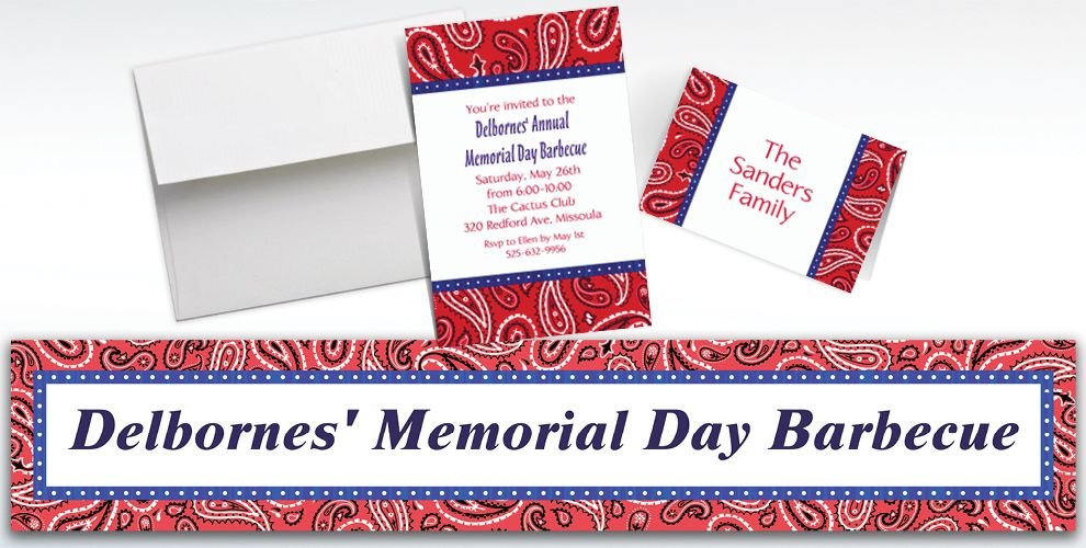 Custom Bandana and Blue Jeans Western Invitations and Thank You Notes