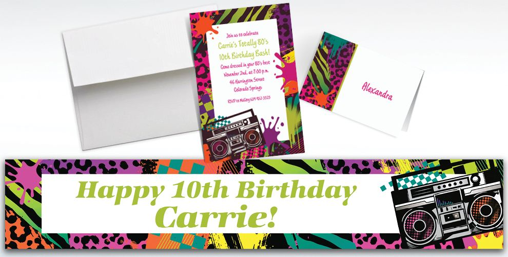 Custom Totally 80s Invitations and Thank You Notes