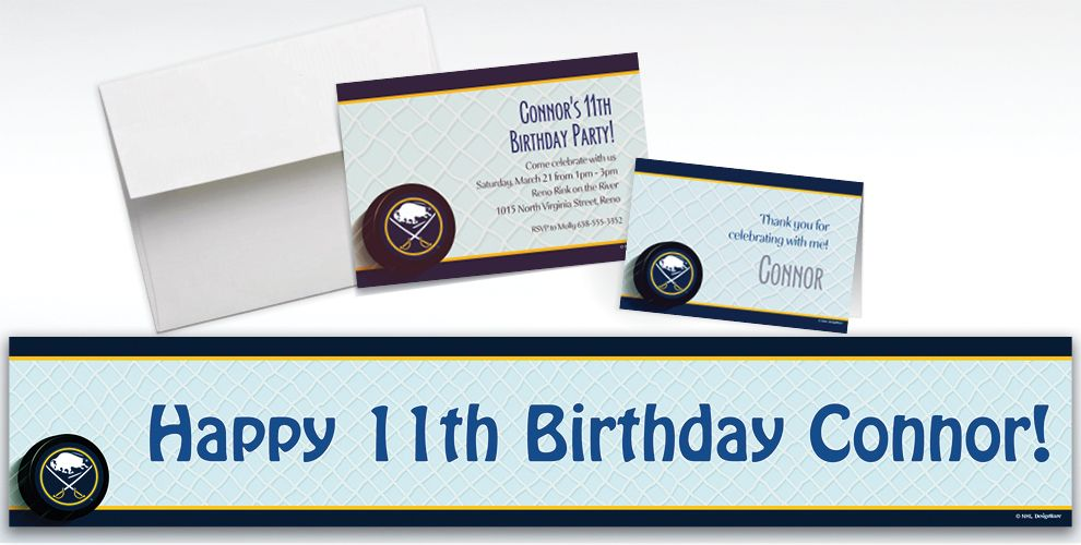 Custom Buffalo Sabres Invitations and Thank You Notes