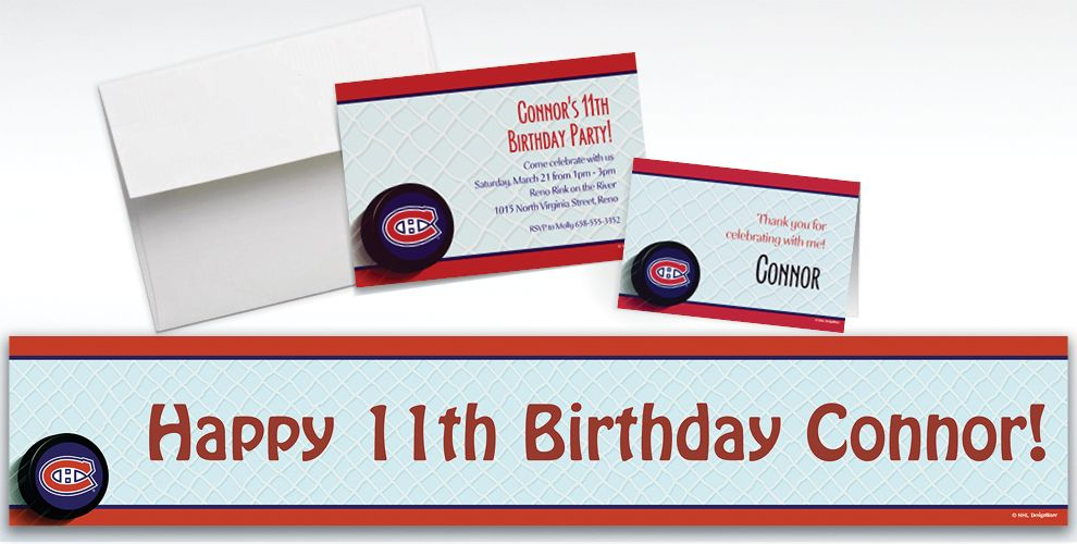 Custom Montreal Canadiens Invitations and Thank You Notes