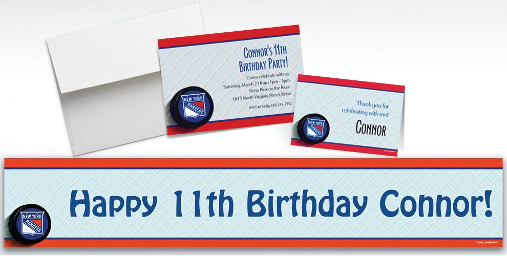 Custom New York Rangers Invitations and Thank You Notes