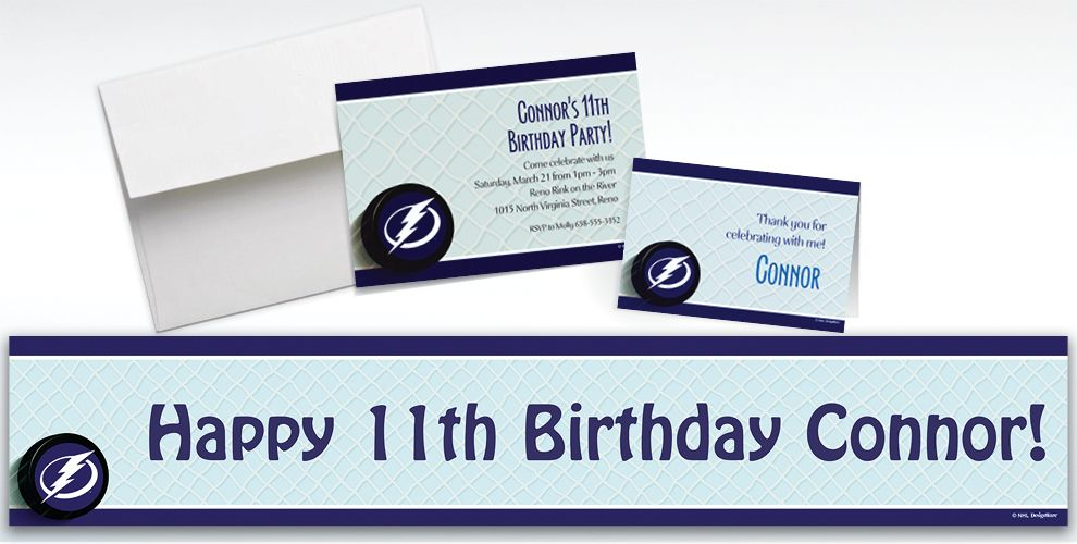 Custom Tampa Bay Lightning Invitations and Thank You Notes