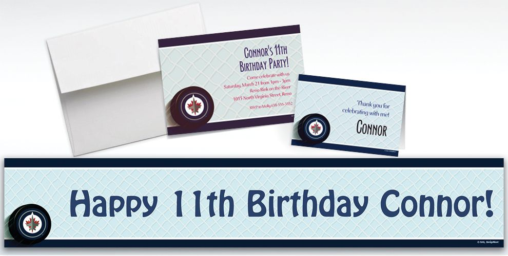 Custom Winnipeg Jets Invitations and Thank You Notes