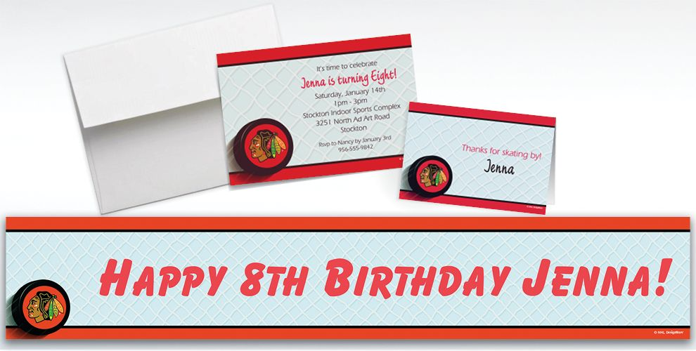 Custom Chicago Blackhawks Invitations and Thank You Notes