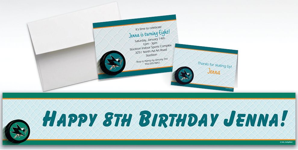 Custom San Jose Sharks Invitations and Thank You Notes
