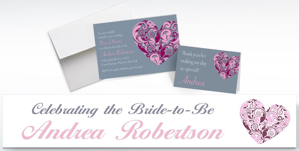 Custom Big Heart Bridal Shower Invitations and Thank You Notes