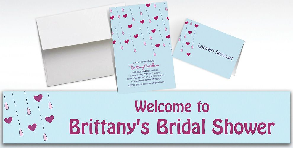 Custom It's Raining Love Bridal Shower Invitations and Thank You Notes