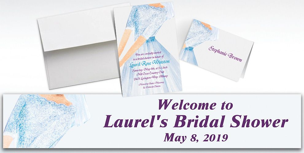 Custom Watercolor Bride Bridal Shower Invitations and Thank You Notes