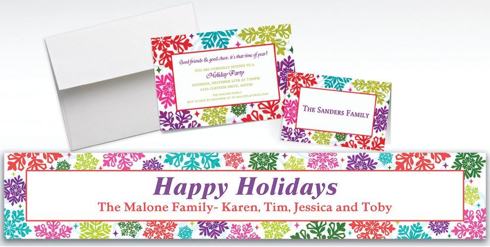 Custom Bright Holiday Invitations and Thank You Notes