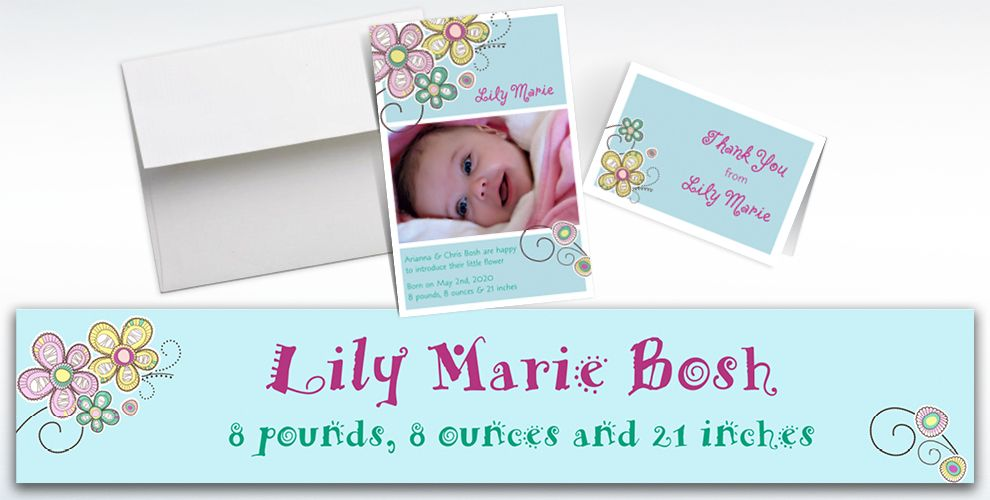 Custom Baby Block Floral Announcements, Thank You Notes and Banners