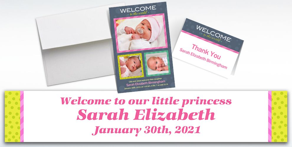 Custom Welcome to the World Girl Announcements, Thank You Notes and Banners