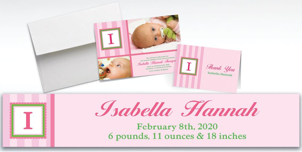 Custom Jumbo Initial Girl Announcements, Thank You Notes and Banners