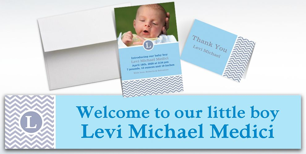 Custom Chevron and Initial Boy Announcements, Thank You Notes and Banners