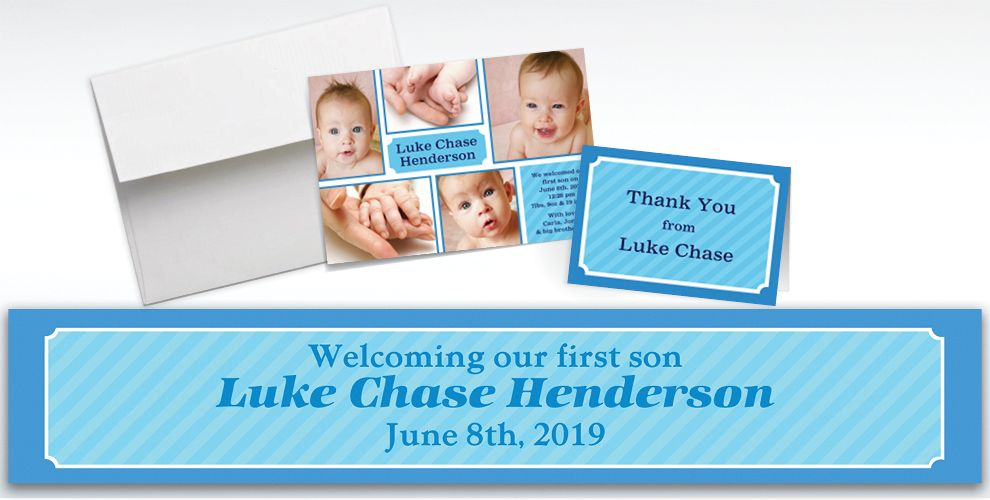 Custom Sweet Photo Collage Boy Announcements, Thank You Notes and Banners