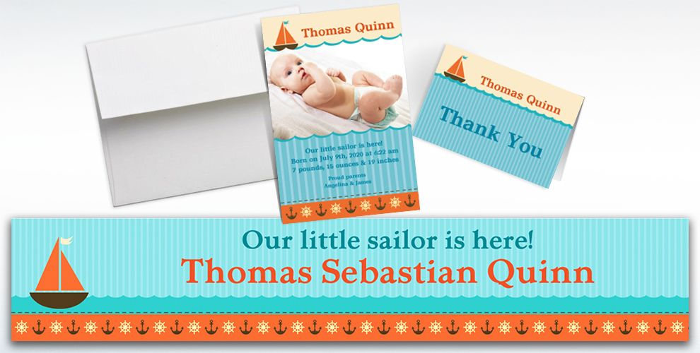 Custom Sailboat and Seersucker Announcements, Thank You Notes and Banners