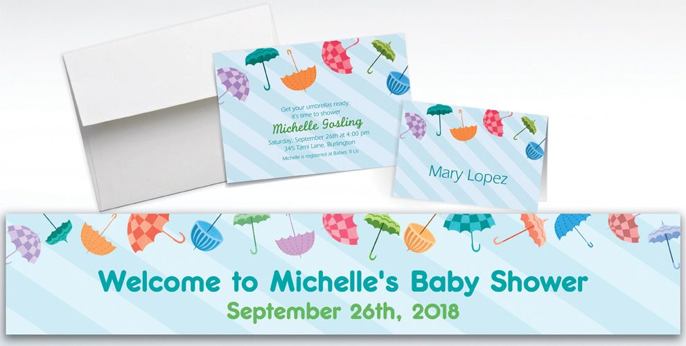 Custom Umbrella Baby Shower Invitations and Thank You Notes