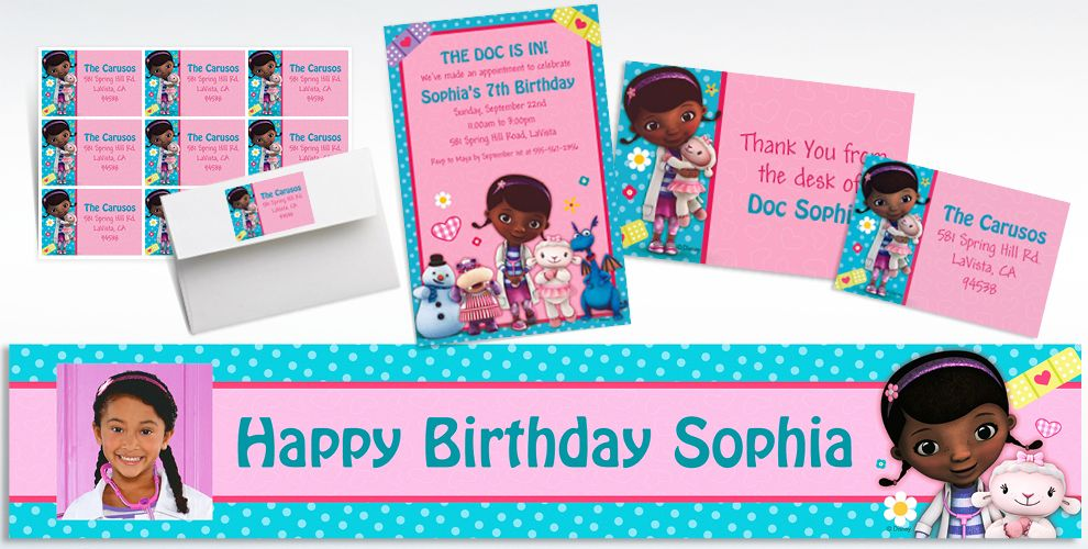 Custom Doc McStuffins Invitations and Thank You Notes