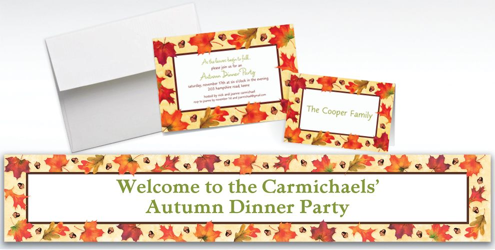 Custom Autumn Day Invitations and Thank You Notes